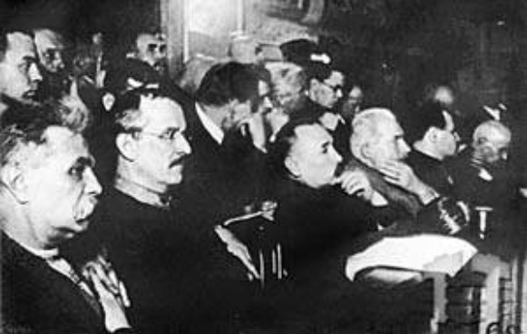 Image - The accused at the trial of the ficticious Union for the Liberation of Ukraine (1930).