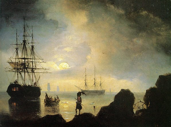 Image - Ivan Aivazovsky: Moonlight on the Crimean Coast (1836).
