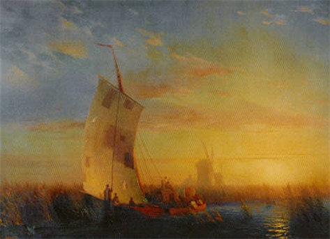 Image -- Ivan Aivazovsky: Reed-Bank on the Dnieper near the Town of Oleshky