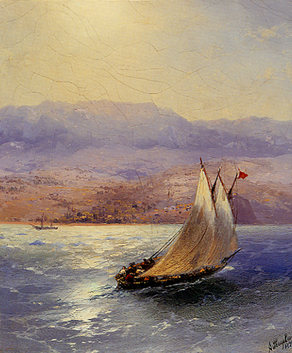 Image - Ivan Aivazovsky: Sailing Barge in the Crimea with the Alupka Palace in the Distance (1890)