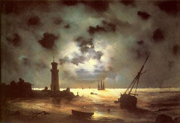 Image - Ivan Aivazovsky: Sea Shore at Night (1837).