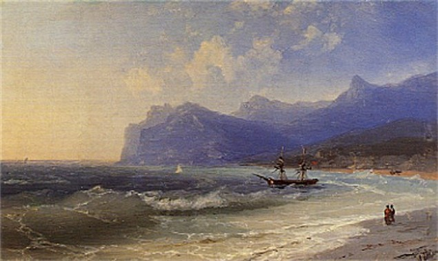 Image - Ivan Aivazovsky: The Beach at Koktebel on a Windy Day (1873)