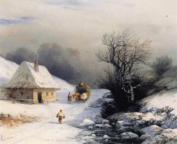 Image - Ivan Aivazovsky: Ukrainian Oxcart in Winter (1866)