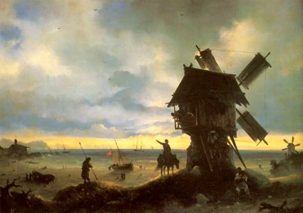 Image - Ivan Aivazovsky: A Windmill on the Sea Shore (1837).