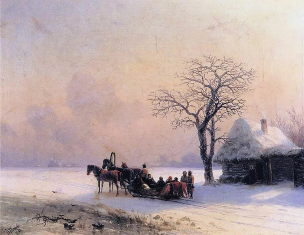 Image - Ivan Aivazovsky: Winter Scene in Ukraine (1868)