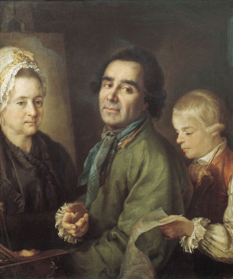 Image - Aleksei Antropov: Self-portrait with son at wife's portrait (1776).