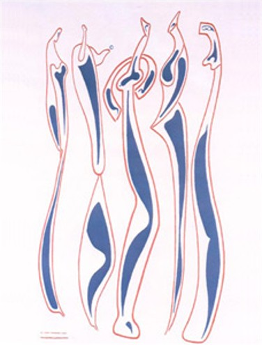 Image - Alexander Archipenko: Five Figures (silk screen) (1952)