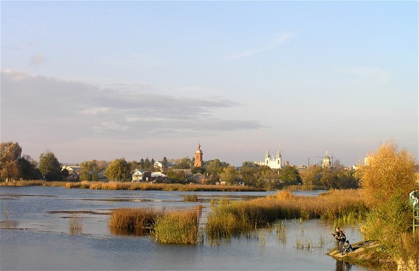 Image -- A view of Bar, Vinnytsia oblast, across the Riv River.