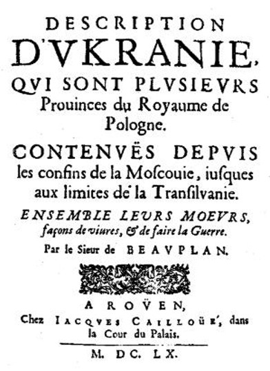 Title page of the 1660 edition of Beauplan's Description D'Ukranie.