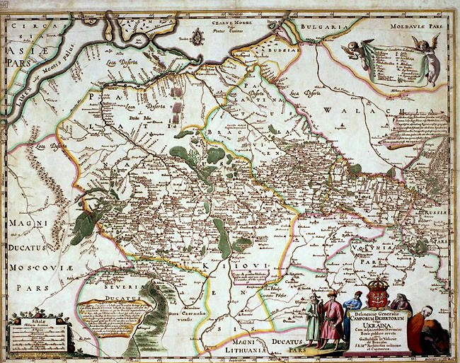 Beauplan's map of Ukraine engraved by Willem Hondius (1648).