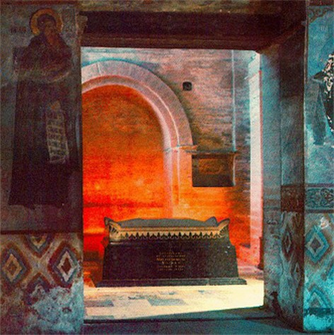 Image - A sarcophagus built in 1947 on the grave of Grand Prince Yurii Dolgoruky in the Transfiguration Church in Berestove.