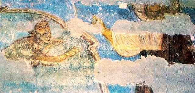 Image - Fragment of the 12th-century fresco Miraculous Fishing uncovered in the Transfiguration Church in Berestove.