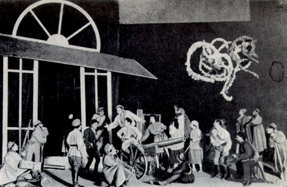 Image - A scene from the Berezil production of Ivan Dniprovsky's Apple-Blossom Captivity (1927).