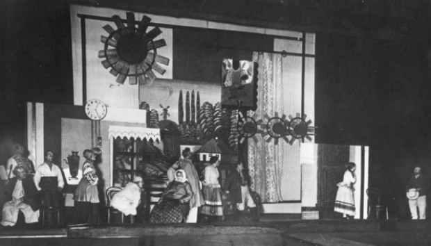 Image -- A scene from Les Kurbas production of Mykola Kulishs Peoples Malakhii in the Berezil theater (1928).