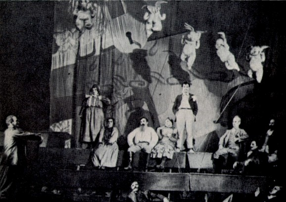 Image -- A scene from Les Kurbas' production of Ivan Mykytenko's Dictatorship in the Berezil theater (1930).