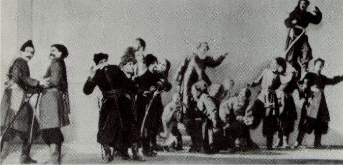 Image - A scene from the Berezil performance based on Taras Shevchenko's Haidamaky (1924).