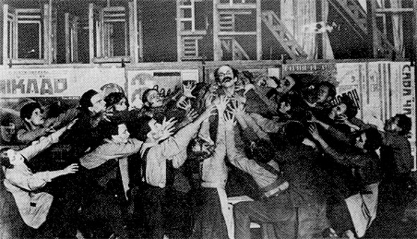 Image -- Scene from the Berezil theatre's production (1923) of Upton Sinclair's Jimmy Higgins.