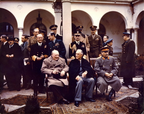 Image - Winston Churchill, Franklin D. Roosevelt, and Joseph Stalin at the Yalta Conference, 1945.