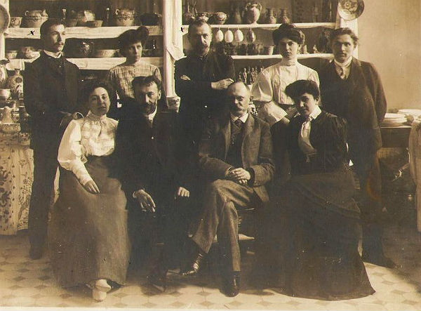 Image - Mykola Biliashivsky, Vikentii Khvoika and other organizers of a folk crafts exhibition 1906.