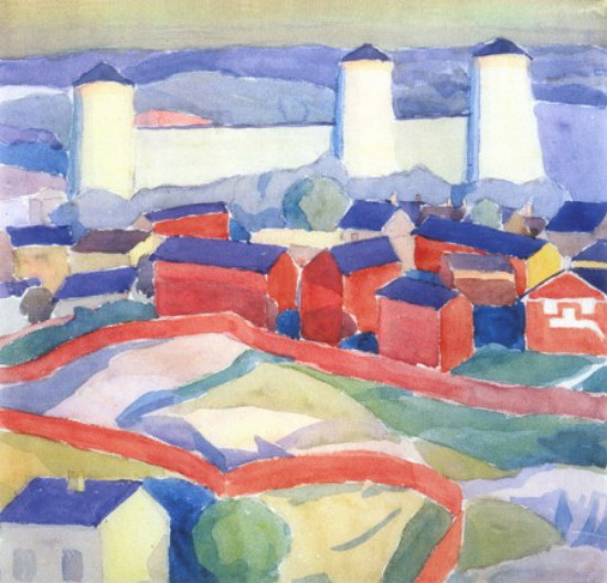 Image - Oleksander Bohomazov: A Landscape with Red Houses (1911).