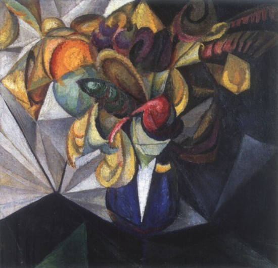 Image - Oleksander Bohomazov: Still Life with Flowers (1914).