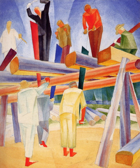 Image - Oleksander Bohomazov: The Work of Sawers (1929).