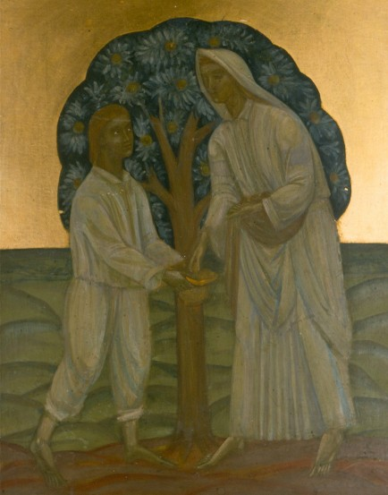 Image - Mykhailo Boichuk: Two Under a Tree (1910s).