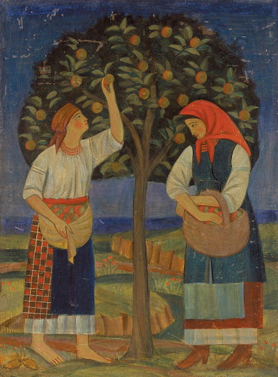 Image - Tymofii Boichuk: By the Apple Tree (1920).