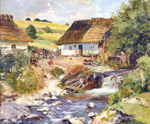 Image - Yosyp Bokshai: Peasant Houses along the Stream (1940).