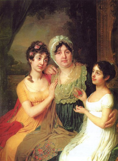 Image -- Volodymyr Borovykovsky: Portrait of O. Bezborodko with her Daughters (1803).