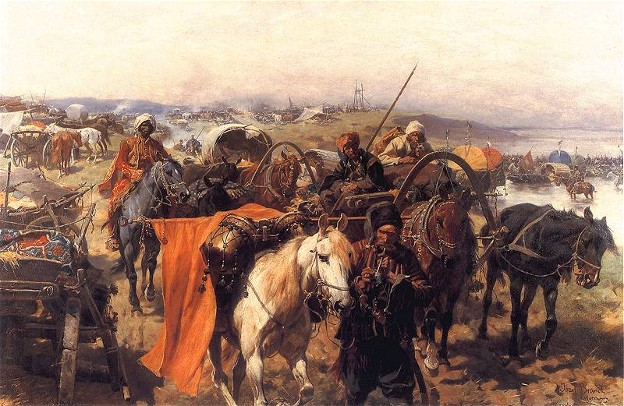 Image -- Jozef Brandt: A Camp of the Zaporozhian Cossacks.
