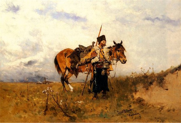 Image - Jozef Brandt: A Cossack on Guard.