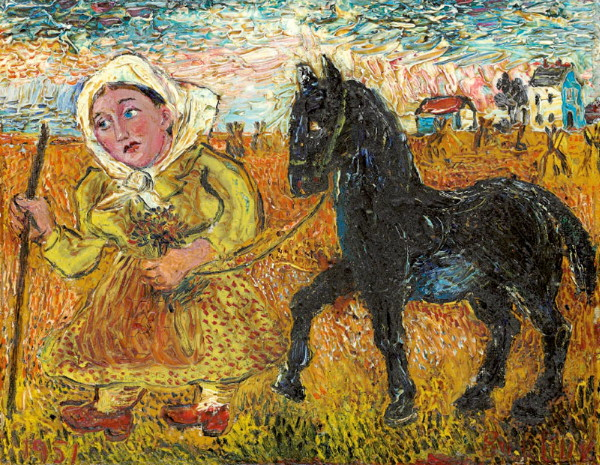 Image - Davyd Burliuk: A Woman in Yellow Dress and a Black Horse.