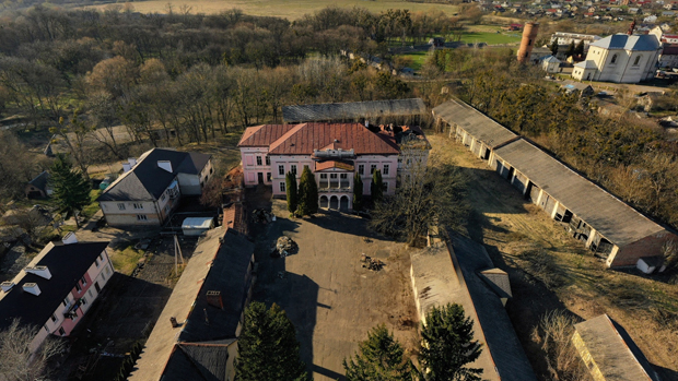 Image - Busk, Lviv oblast: the Badeni palace (aerial view).
