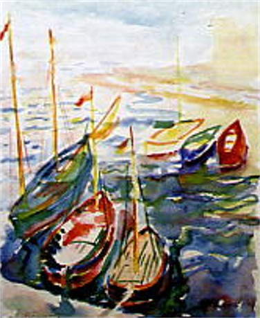 Image - Mykola Butovych: Split. Boats in the Harbour (watercolour, 1940)