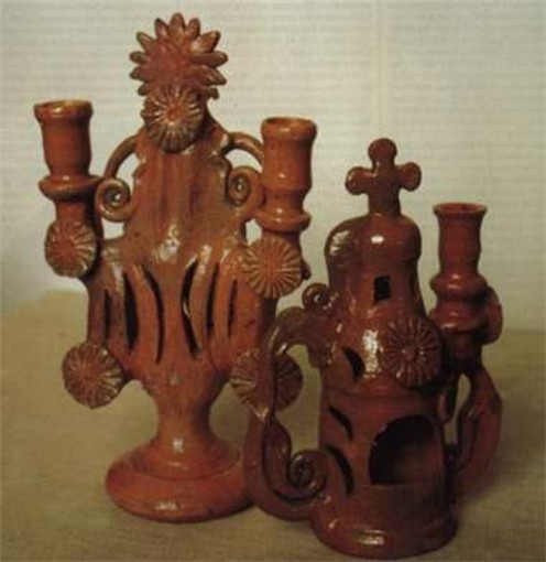 Image -- A ceramic candelabra from the Poltava region (19th century).