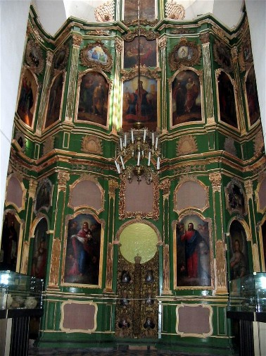 Image - The iconostasis of the Saint Elijah's Church (late 12th-century) at the Trinity-Saint Elijah's Monastery in Chernihiv.