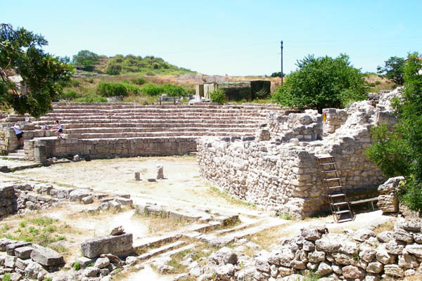 The ruins of the amphitheater in Chersonese Taurica near Sevastopol in the Crimea.