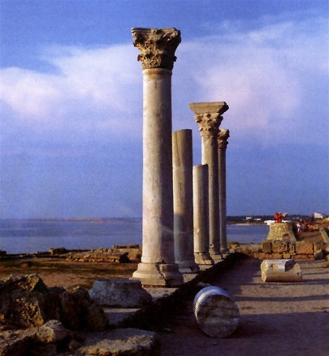 The ruins of the basilica in Chersonese Taurica near Sevastopol in the Crimea.