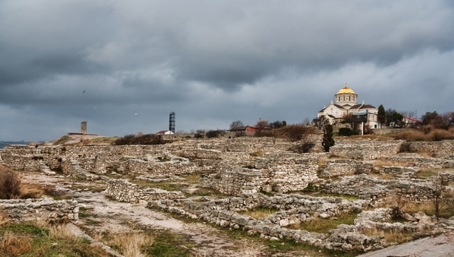 Image - The ruins of Chersonese Taurica (with the Church of Saint Volodymyr) near Sevastopol in the Crimea.