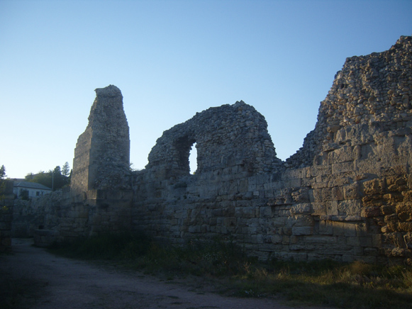 The fortification ruins in Chersonese Taurica near Sevastopol in the Crimea.