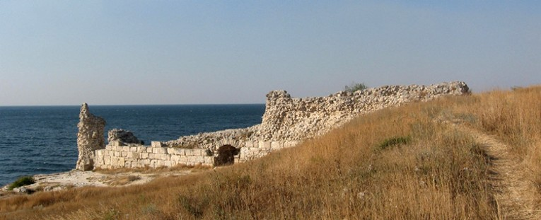 The ruins of western fortification walls in Chersonese Taurica near Sevastopol in the Crimea.