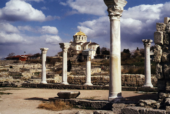 The ruins of Chersonese Taurica (with the Church of Saint Volodymyr) near Sevastopol in the Crimea.