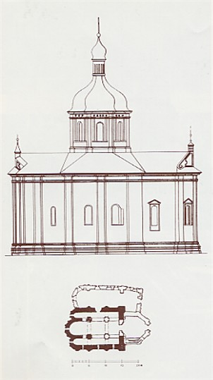 Image - The Church of the Three Saints in Kyiv (floor plan and northern facade).