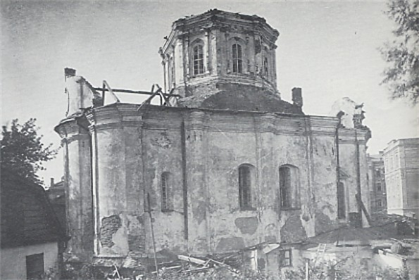 Image - The Church of the Three Saints in Kyiv during its destruction by the Soviet authorities in 1935.
