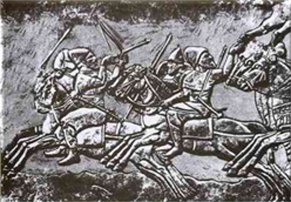 Image -- Cimmerian mounted warriors on a Nimrud bas-relief.