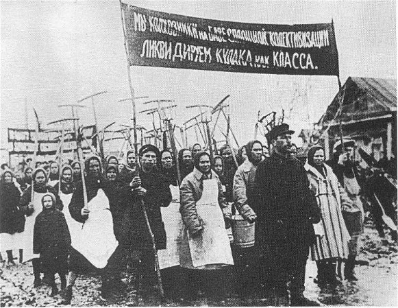 Image - A propaganda photograph depicting collective farm members who promote the collectivization and anti-kulak campaign.