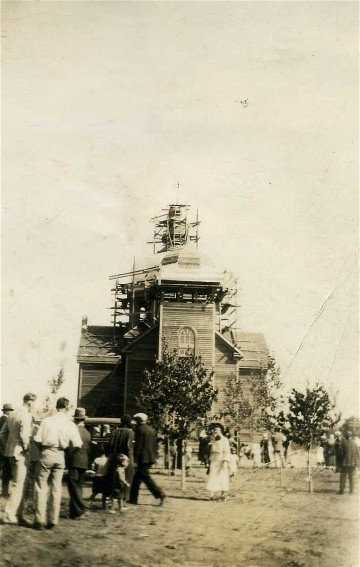 Image - Construction of the Holy Trinity Church in Hafford, Saskatchewan (1931) (photo, courtesy of the Ukrainian Museum of Canada, Saskatoon Branch).