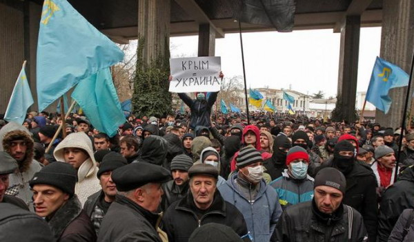 Image - Crimean Tatar rally against the Russian intervention in the Crimea (7 March 2014).