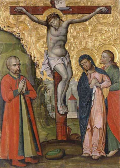 Image - The Crucifixtion icon with Colonel Leontii Svichka (by Yosyf Ivanovych).